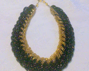 Woven Bronze and Gold Seed Bead Necklace