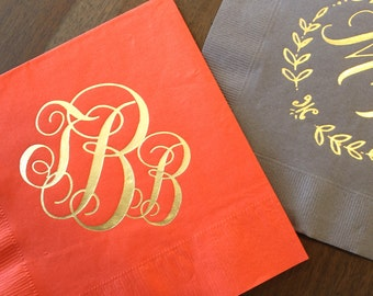 Shiny Gold Foil Monogram Napkins, Personalized Wedding Napkins, Custom Napkins, Printed Party Napkins, Personalized Monogrammed Napkins,