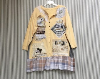 Upcycled Artsy Jacket Shabby Chic Paris Romantic Cotton Cardigan , Appliqué Eiffel Tower Wearable Art Fabric Collage