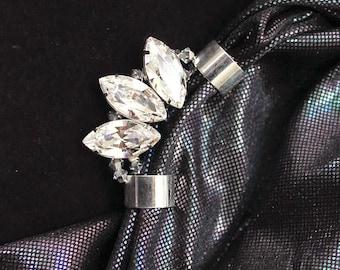 Sophia Crystal Ear Cuff, Bridal Earring Cuff, Ear Climber, Unique Jewelry Gift, Ear Crawler, Edgy Bridal Ear Cuff, Statement Party Jewelry