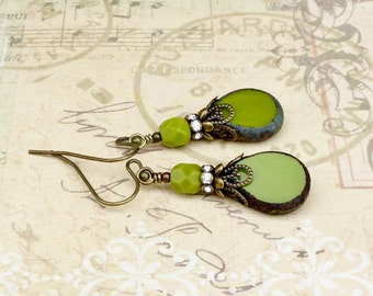 Green Earrings, Olive Green Earrings, Lime Green Earrings, Victorian Earrings, Czech Glass Beads, Womens Earrings, Unique Earrings, Gifts