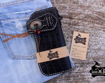 Embossed Leather Trucker Wallet Black Biker Wallet Long Leather Wallet Mens Women Pressed Pattern