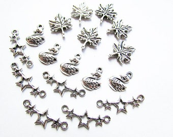 Lot of 17 Charms Maple Leaf Charms Duck Charms Star Charms Antique Silver Tone Charms Craft Supplies Jewelry making
