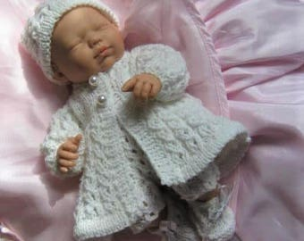 Doll Knitting Pattern - Winter White Cable Set CR61 for Dolls/Clay Baby/Berenguer Artist Doll