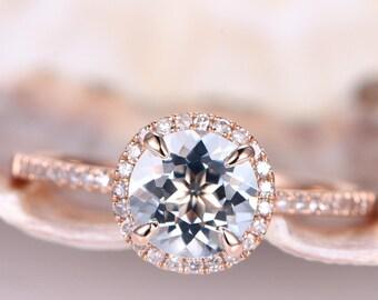 Aquamarine Ring Aquamarine Engagement Ring Rose Gold Diamond Wedding Band 7mm Round Blue Gemstone Promise Ring Bridal Ring Halo 14K Claws