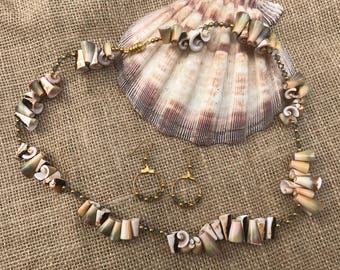 Necklace and Earring Set Made with Everlasting Shells and Swarovski Crystals
