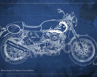 MOTO GUZZI v7 Race First Edition Blueprint,Art Print larger sizes, Bike Art print,Original Drawing for men cave,digital art,gift fot him