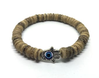Cool mens bracelet of coconut beads and a Hamsa hand