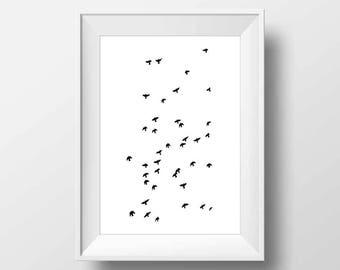 Flying birds wall art, birds print, flock of birds, birds art poster, printable birds, wall decor, minimalist art, affiche scandinave