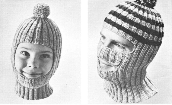 Vintage Knitting Pattern Boys Mens Winter Hat Balaclava Mask
