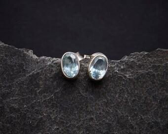 Blue Topaz Earrings, Blue Topaz Studs, Silver Stud Earrings, Blue Topaz and Silver, Everyday Earrings, Simple Studs, Sterling Silver, 925