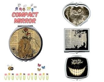 Alice in Wonderland compact mirror, makeup mirror, compact make up mirror, small mirror, double sided compact makeup mirror, purse mirror