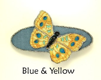 Handmade and Hand Painted Small Fabric Butterfly Hair Barrettes