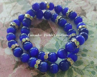 Royal Blue Cat-Eye Stack Bracelet Stretch Duo with Rhinestone Accents (201767B)