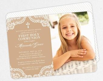 First Communion Invitation, First Holy Communion Invitation, Photo Communion Invitation, DIY Invite, PDF, Lace, Purple, Printable, Miranda