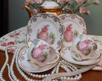 1950's PINKIE TRIO- Gift Boxed -Cup Saucer Plate set - Vintage tea set - Lubern - Stamped 22KT - Pink lady - Gold chintz - Mother's Day gift