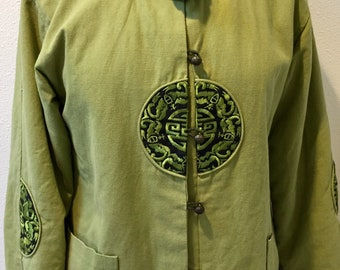 Pea Green Asian Themed / Faux Fur Edging / Flared Jacket Ladies Size L / XL by Hong Fen Jia Ren
