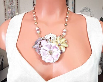 Statement Necklace set, collage necklace, lilac purple and gold Lilac Purple, keyhole lock
