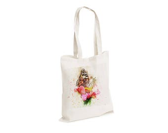 Butterfly - Watercolour watercolor Tote Canvas bag, White, Reusable Shopping Bag