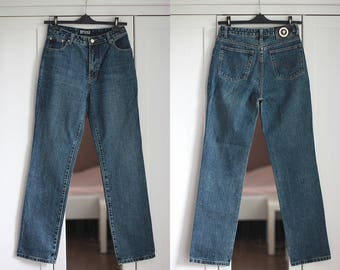 Versace Jeans High Waisted Dark Blue Denim Jeans Vintage Versace Jeans Couture Size W30 L32 Made in Italy