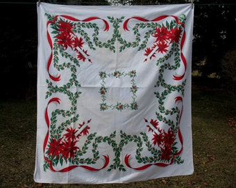 Vintage Christmas Tablecloth  Poinsettia Holly Berry Christmas Balls Candles and Ribbon