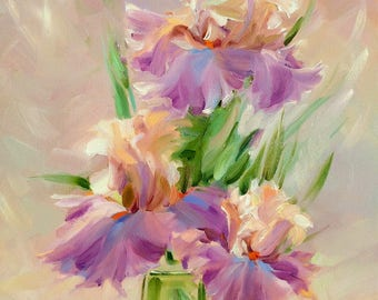 Irises painting,  Flowers  painting, Lilies, Bright painting, Original painting, Oil painting, Paletter knife, Oil on canvas, Best gift