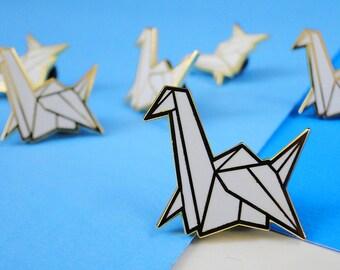 origami paper crane hard enamel pin