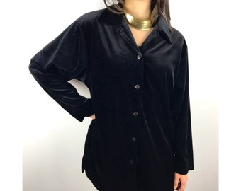 Vintage DIANE VON FURSTENBERG black velour button down blouse