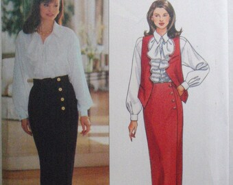 Women's Sewing Pattern - Lined Vest, Ruffled Blouse and Front Wrap Skirt - Butterick 6911 - Sizes 12-14-16, Bust 34 - 38, Uncut
