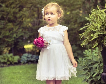 The Original Charlotte - White, Lace, Chiffon Flower Girl Dress, made for girls, toddlers, ages 1T, 2T,3T,4T, 5T, 6, 7, 8, 9/10,11/12,13/14