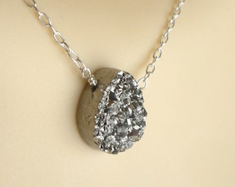 Silver Druzy  necklace, Sterling silver necklace