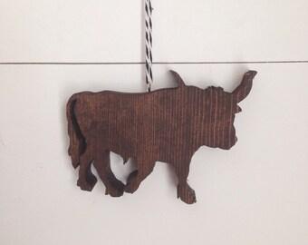 Longhorn Wood Ornament