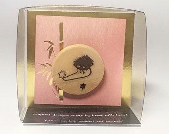 Studio Ghibli Cute Soot Sprite and Stars Illustration by Studio Otesei Wooden Pin