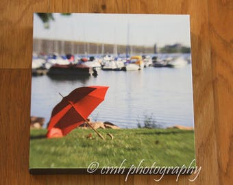 Clearance Sale!  Red Umbrella Lakeside - 6 x 6 Canvas Wrap Fine Art Photography Print - in Stock Ready to Ship
