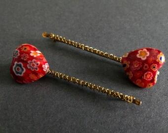 Glass Hearts (red) *bobby pins, hair pins, gift, gift for her, wedding, bridal, bridesmaid gift, boho, bohemian, boho jewelry, birthday*