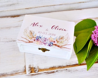 Floral Wedding Ring Box, Personalised Boho Ring Bearer Box, Bohemian wood box alternative, wedding gift, engagement gift, Custom White  Box.