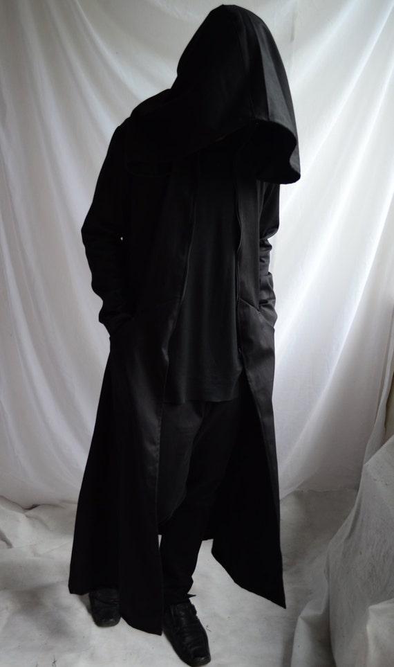 large trench cosplay street reaper ritual Darkside full hood dark length overcoat coat black mens Overcoat urban extra wpFHA