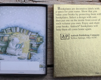 Bear Bookplates, Decorative Book Labels, Set of 20 Book Name Plates, Illustration of Polar Bear Reading Books, Children's Bookplates