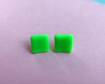 Neon green earrings, colourful earrings, square earrings, bright earrings, geometric studs, clay earrings, vegan studs, quirky jewellery