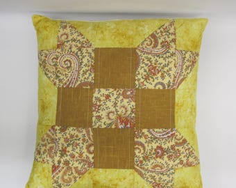 Quilted pillow, yellow and brown decor, couch pillow, patchwork pillow removable pillow cover, home decor
