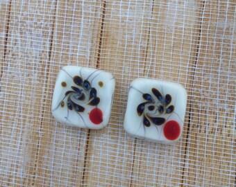 Hand made White square glass beads