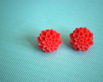 Pink Dahlia Earrings -- Dahlia Studs, Flower Studs, Flower Earrings, Pink Flower Earrings