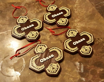 Polynesian Themed Ohana Christmas Ornament - Set of 4