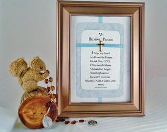 CHRISTIAN PRAYER GIFT For Boy Personalized Prayer Christian Cross Child's Prayer Wall Print Blue Room Decor Keepsake Gift RosaLinda