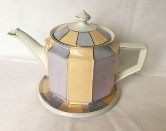 Lusterware Teapot with Matching Saucer  ~  Art Deco ~ Ribbed ~ Made in Germany ~ Gold Trimmed