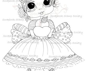 INSTANT DOWNLOAD Digital Digi Stamps Big Eye Big Head Dolls Digi  Cutie Carley By Sherri Baldy