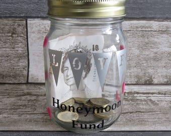 Honeymoon fund mason jar, custom mason jars, wedding centre piece, vinyl jar, decor rustic wedding, tip jar