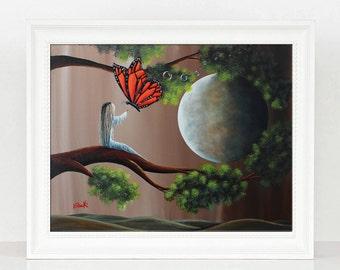 Summer Dreaming - Gift Ideas For Women - Bedroom Art - Last Ones - Dreamy Art - Full Moon - 8x10 - Monarch Butterfly - Up In Tree