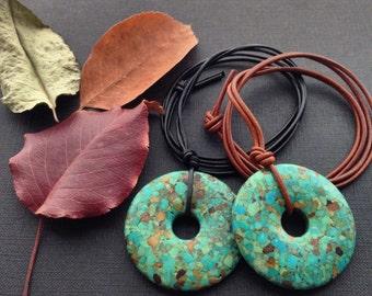Leather Mosaic Turquoise Necklace, Boho Chic Large Donut Necklace, Earthy Bohemian Necklace