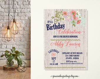Womans Birthday Party Invitations, Any Age Adult Birthday Invite, Feminine Birthday Party, Floral Birthday Invitation, Surprise Party